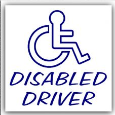 1 x Disabled Driver-Outline Design Car,Van Sticker-Disability Mobility Scooter Logo Sign Outline
